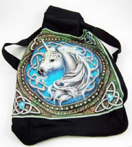 Hippy Bag~Pagan Hippy Blue Celtic Unicorn Backpack~Fair trade by Folio Gothic Hippy 95895